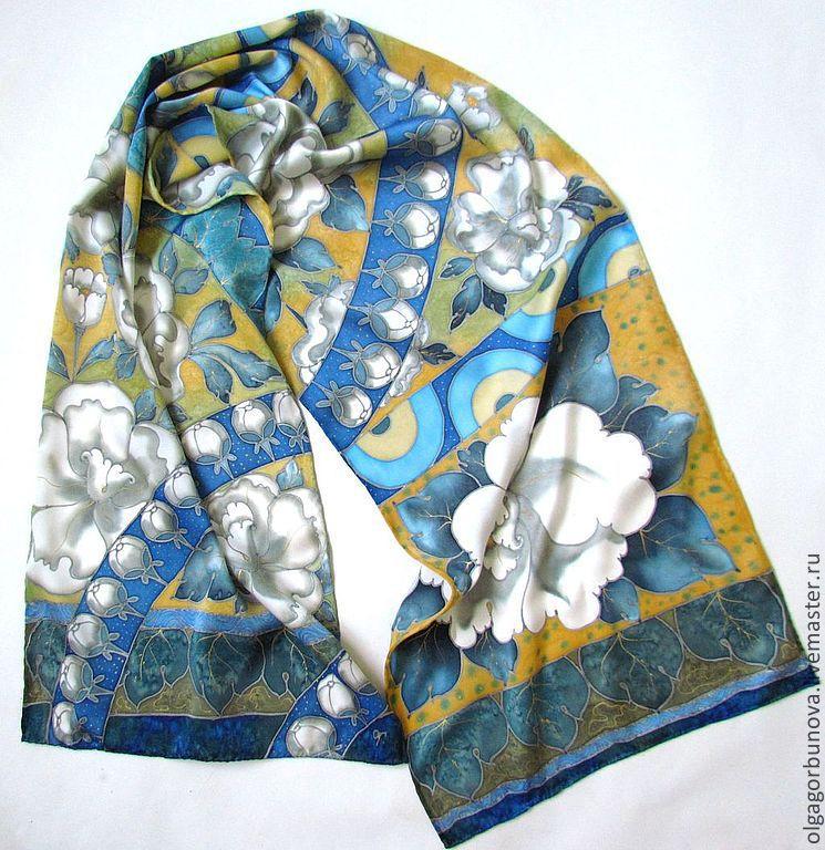 Батик шарф, шёлковый шарф батик, шарф с ручной росписью батик, батик шарфик, шёлковые шарфы.
