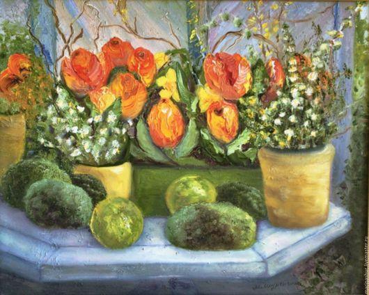 Весенние цветы, тюльпаны, яркие, желтые, оранжевые, красные, белые, в зелени. Написаны мастихином на холсте с подрамником, в раме.