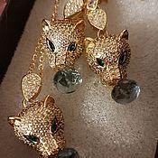 Украшения handmade. Livemaster - original item Golden cheetahs with green topazes.. Handmade.