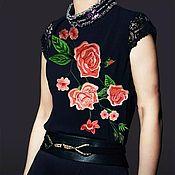 Материалы для творчества handmade. Livemaster - original item Applique on clothing Red Flowers. Handmade.