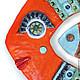 Керамическое панно Ярко оранжевая рыба. Авторская керамика Ксении Гольд. Оригинальный и яркий подарок.