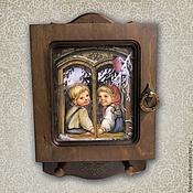 Для дома и интерьера ручной работы. Ярмарка Мастеров - ручная работа Ключница Зима за окошком (ключница с детками). Handmade.