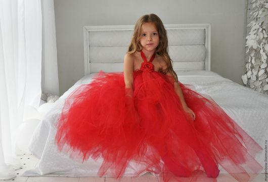 """Одежда для девочек, ручной работы. Ярмарка Мастеров - ручная работа. Купить Платье """"Красная роза"""". Handmade. Ярко-красный, роза"""