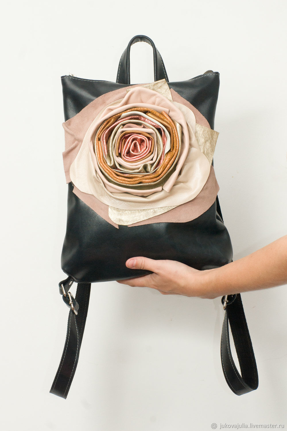 Black backpack, genuine leather, with flower, Backpacks, Stavropol,  Фото №1