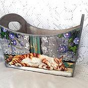 Для дома и интерьера ручной работы. Ярмарка Мастеров - ручная работа Короб для хранения Кошка на окошке. Handmade.