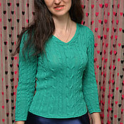 Одежда ручной работы. Ярмарка Мастеров - ручная работа Весенние зеленые косички Свитер из хлопка. Handmade.