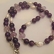Украшения handmade. Livemaster - original item Beads of natural amethyst and pearl. Handmade.