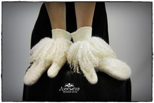 """Варежки, митенки, перчатки ручной работы. Ярмарка Мастеров - ручная работа. Купить Варежки """"Душевные"""". Handmade. Белый, варежки из шерсти"""