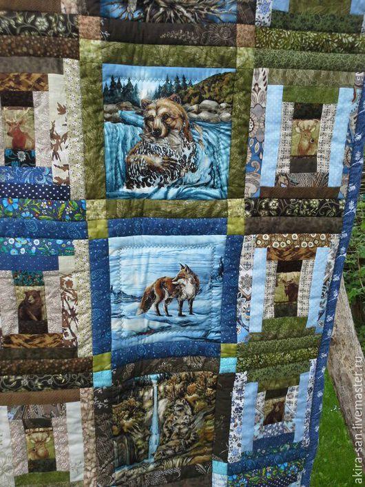 Текстиль, ковры ручной работы. Ярмарка Мастеров - ручная работа. Купить Лоскутное одеяло ЗВЕРИ И ПТИЦЫ. Handmade. лес