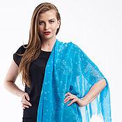 Аксессуары handmade. Livemaster - original item Hand painted Scarf, pure silk Chiffon, pure silk turquoise. Handmade.