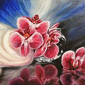 Картины ручной работы. Ярмарка Мастеров - ручная работа Пурпурные орхидеи на чёрном фоне. Handmade.