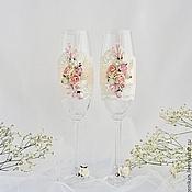 """Свадебный салон ручной работы. Ярмарка Мастеров - ручная работа Свадебные бокалы """"Аромат весны"""". Handmade."""