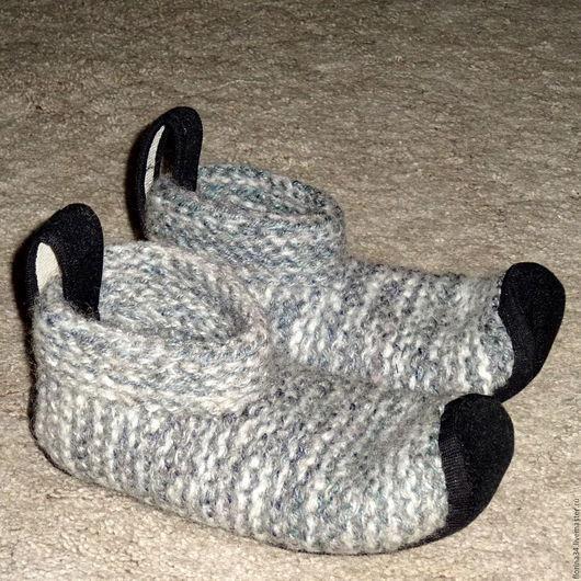 Обувь ручной работы. Ярмарка Мастеров - ручная работа. Купить Носки вязано-валяные, серые, шерсть, р.37-38. Handmade.