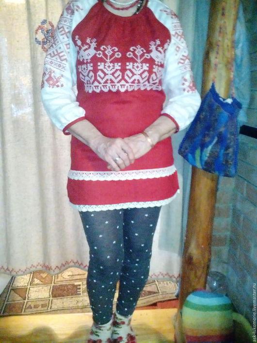 Одежда ручной работы. Ярмарка Мастеров - ручная работа. Купить туника с вышивкой обережная. Handmade. Русский стиль, женскя одежда