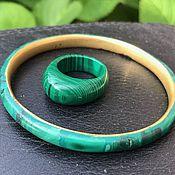 Винтаж handmade. Livemaster - original item Malachite evening bracelet and ring, Zaire. Handmade.