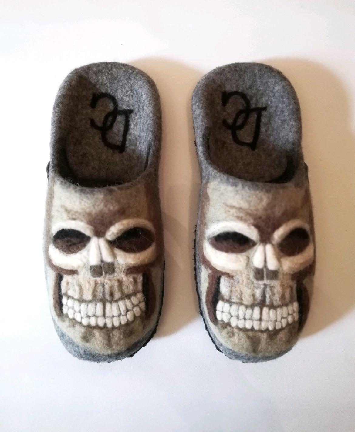 Men's felt Slippers 'Skull', Slippers, St. Petersburg,  Фото №1