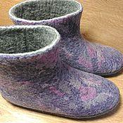 Обувь ручной работы. Ярмарка Мастеров - ручная работа Туманные цветы. Домашние тапко-валеночки разм 38,5-39. Handmade.