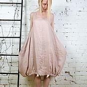 Одежда ручной работы. Ярмарка Мастеров - ручная работа Льняное платье / LD0019 - пепельно-розовый. Handmade.