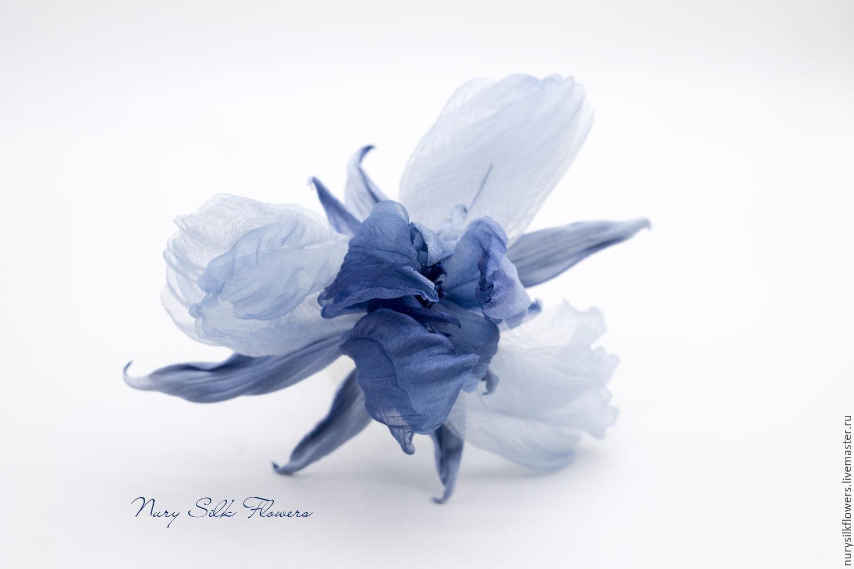 Brooches handmade. Livemaster - handmade. Buy Iris silk  Beautiful cobalt . 836ecd4b5