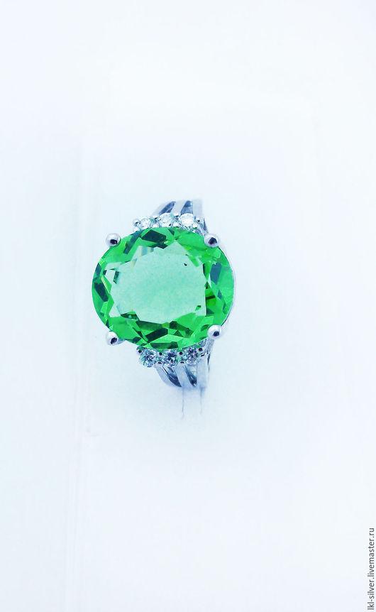 """Кольца ручной работы. Ярмарка Мастеров - ручная работа. Купить Кольцо """"Зеленый рай"""" с зеленым аметистом. Handmade. Зеленый"""