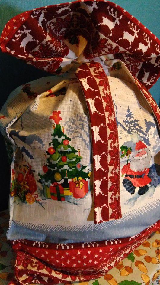 Новый год 2017 ручной работы. Ярмарка Мастеров - ручная работа. Купить Большой  мешок Деда Мороза. Handmade. Новый Год