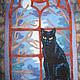 """Пейзаж ручной работы. Ярмарка Мастеров - ручная работа. Купить Квилт """"Готический кот"""". Handmade. Квилтинг и пэчворк, картина, панно"""