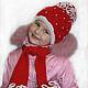 Детские аксессуары ручной работы. Вязаный зимний комплет шапка, шарфик, манишка. Олеся Максимова. Ярмарка Мастеров. Зимняя шапочка