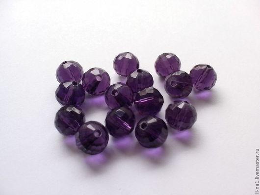 Для украшений ручной работы. Ярмарка Мастеров - ручная работа. Купить Бусина стеклянная, фиолетовая 10 мм. Handmade. Бусины