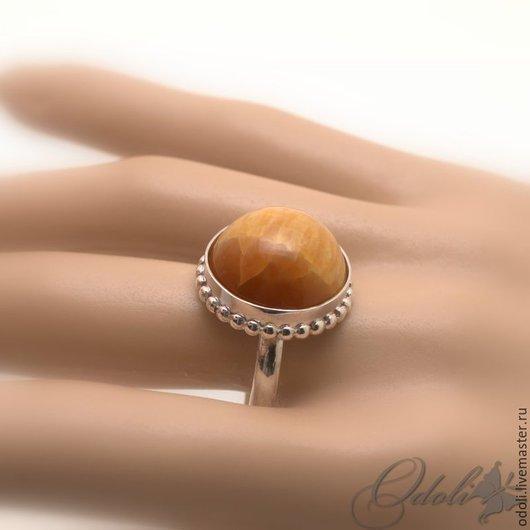 Кольца ручной работы. Ярмарка Мастеров - ручная работа. Купить Серебряное кольцо с симбирцитом. Handmade. Оранжевый, украшение с симбирцитом