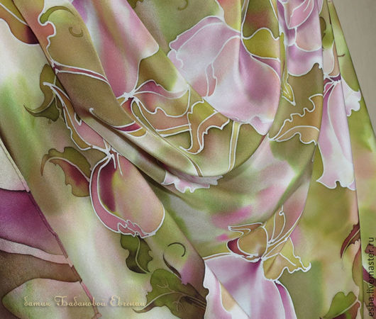 """Шали, палантины ручной работы. Ярмарка Мастеров - ручная работа. Купить Шелковый платок """"Пионы для Оливии"""", батик, ручная роспись шелка. Handmade."""