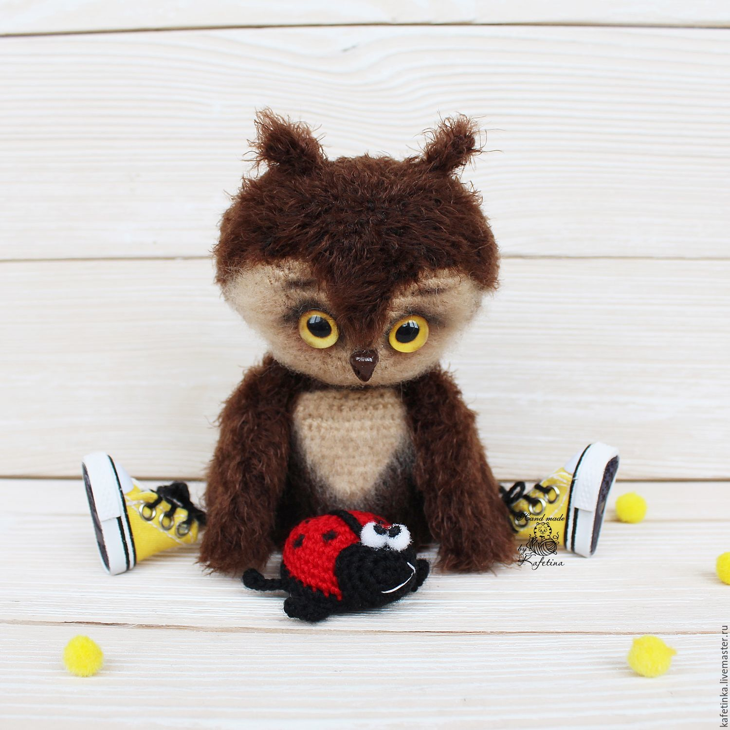 Owly and his friend speckled. Hook. Handmade toys. Hope (Cavatina)