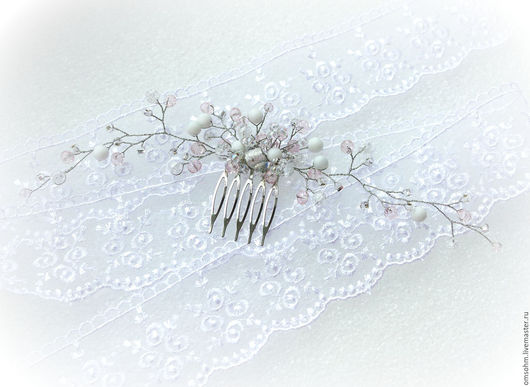 """Заколки ручной работы. Ярмарка Мастеров - ручная работа. Купить Гребень """"Бело-розовый"""". Handmade. Бледно-розовый, гребень для невесты"""
