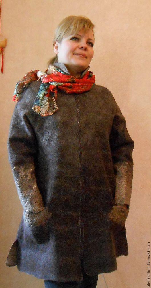 Верхняя одежда ручной работы. Ярмарка Мастеров - ручная работа. Купить Пальто валяное ШОКО ЛАД.. Handmade. Коричневый