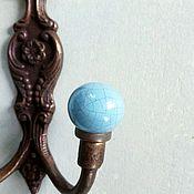 Для дома и интерьера ручной работы. Ярмарка Мастеров - ручная работа Металлический крючок с голубой керамикой. Handmade.