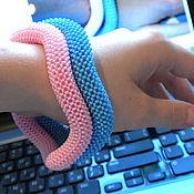 Украшения handmade. Livemaster - original item The harness thick wavy bracelets beaded solid pink and blue. Handmade.
