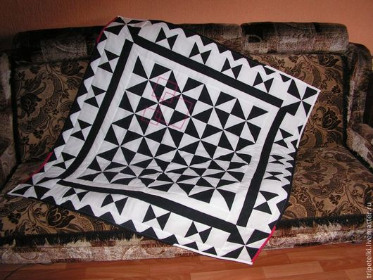"""Текстиль, ковры ручной работы. Ярмарка Мастеров - ручная работа. Купить Лоскутный плед """"Стиль"""". Handmade. Чёрно-белый, пледик"""
