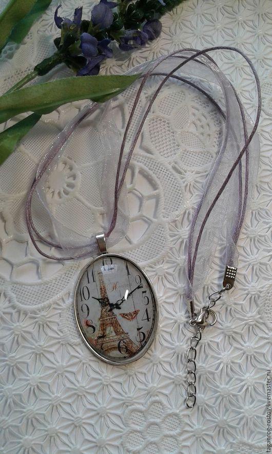 Кулоны, подвески ручной работы. Ярмарка Мастеров - ручная работа. Купить Кулон овальный подвеска Часы Париж на ленте. Handmade.