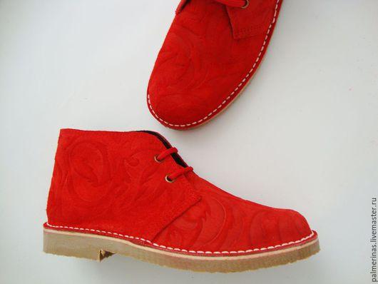 Обувь ручной работы. Ярмарка Мастеров - ручная работа. Купить Шикарные красные ботинки - Барокко. Handmade. Ярко-красный