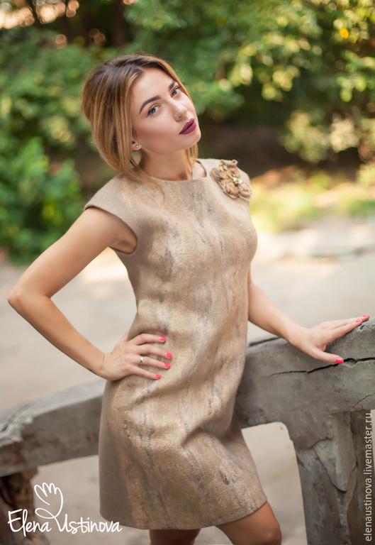 """Платья ручной работы. Ярмарка Мастеров - ручная работа. Купить Платье """"Golden beige"""".. Handmade. Бежевый, нунофелтинг, бежевое платье"""