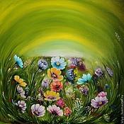 Картины и панно ручной работы. Ярмарка Мастеров - ручная работа Картина маслом  Полевые цветы. Handmade.