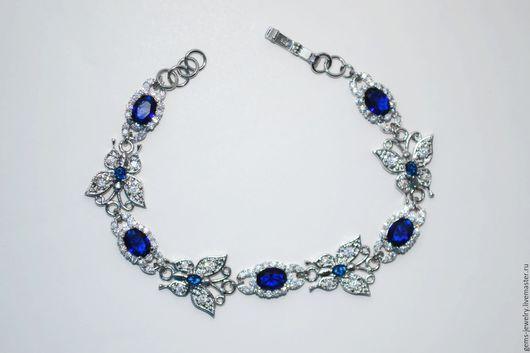 Браслеты ручной работы. Ярмарка Мастеров - ручная работа. Купить Весенний браслет с синими кварцами. Handmade. Тёмно-синий, подарок