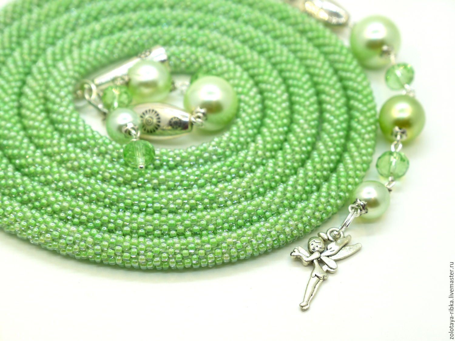Handmade jewelry. Lariat Forest fairy Green harness beaded. Jewelry from Gold fish. Fair Masters