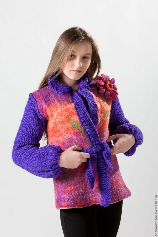 Пиджаки, жакеты ручной работы. Ярмарка Мастеров - ручная работа. Купить Весна. Handmade. Рисунок, комбинированный, шерсть, лён