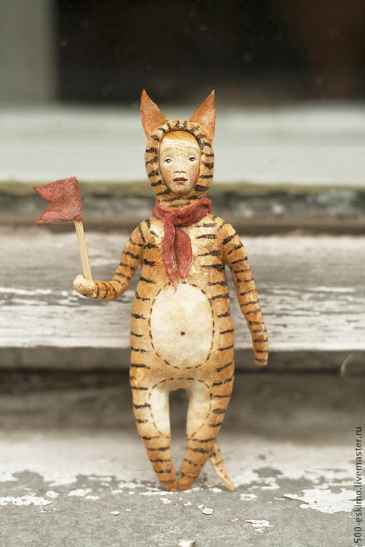 Новый год 2017 ручной работы. Ярмарка Мастеров - ручная работа. Купить Ватная игрушка на ёлку Тигр. Handmade. Рыжий, тигренок