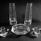 Винтаж handmade. Livemaster - original item 2 vases 2 candle holder ashtray crystal 1958.. Handmade.