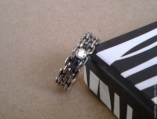 """Кольца ручной работы. Ярмарка Мастеров - ручная работа. Купить Кольцо """"Цепь"""" с фианитом. Handmade. Серебряный, кольцо с фианитом, цепи"""