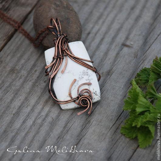 """Кулоны, подвески ручной работы. Ярмарка Мастеров - ручная работа. Купить Кулон  """"Элегия"""" магнезит и медная проволока. Handmade. Белый"""