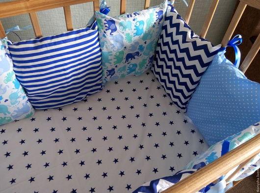 Детская ручной работы. Ярмарка Мастеров - ручная работа. Купить Бортики -подушки в детскую кроватку. Handmade. Белый, лоскутное одеяло