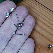 Материалы для творчества handmade. Livemaster - original item Silver-plated stud earrings Art. OS925136. Handmade.