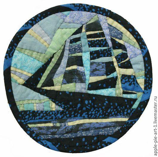 """Пейзаж ручной работы. Ярмарка Мастеров - ручная работа. Купить Лоскутная картина """"Попутный ветер"""". Handmade. Корабль, кораблик"""